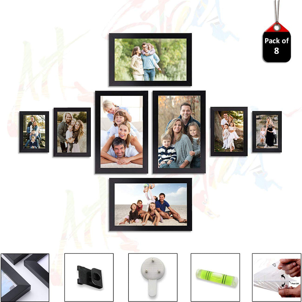 8 Individual Black Wall Photo Frames Wall Decor Set