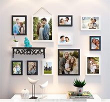 Load image into Gallery viewer, 11 Individual Black & White Wall Photo Frames Wall Hanging With Wall Shelf
