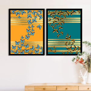 Art Street Numerous Butterfly Matte Art Print, Painting for Home Décor Set of 2