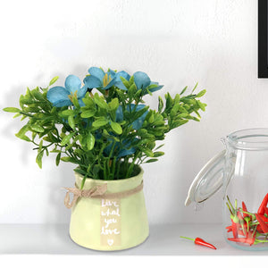 Artificial Table Plants/Flower Forget me not in Ceramic Pot/Planter for Home.