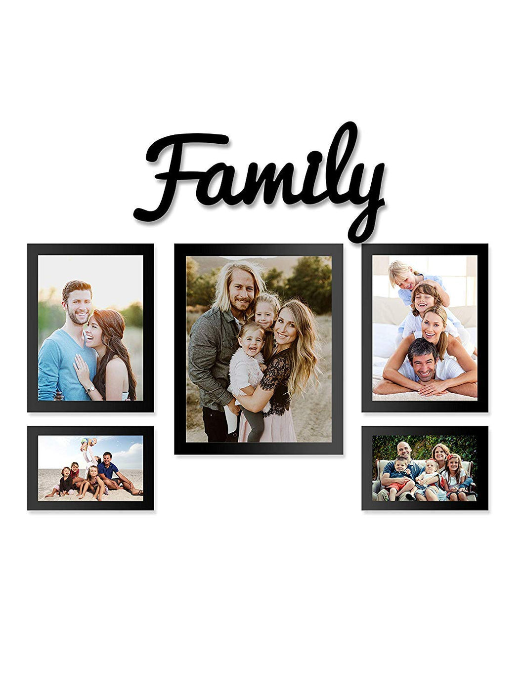 5 Individual Black Wall Photo Frames With Family MDF Plaque