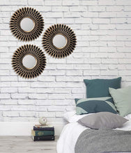 Load image into Gallery viewer, Decorative Round Black Wall Mirror for Living Room Set of 3