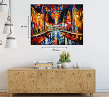 Load image into Gallery viewer, Art Street City Night & The Stream Art Print,Landscape Canvas Painting