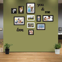 Load image into Gallery viewer, 10 Black & White Wall Photo Frames With MDF Plaque You & Me And Love