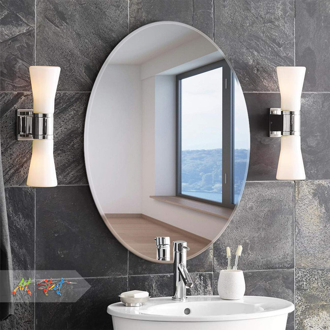 Oval Mirrors -16 x 24 inch Beveled Elliptical Wall Mirror HD  Wall Décor