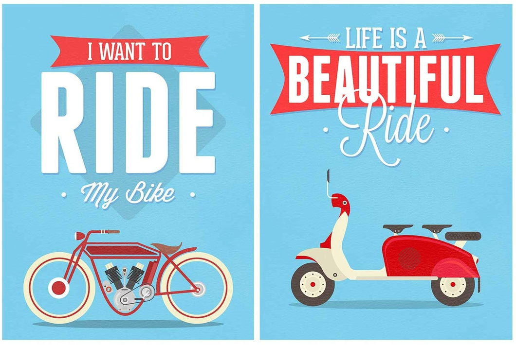 Motivational Quote 2 Poster Set # Life is a Beautiful Ride- 12 X 16 Inch.