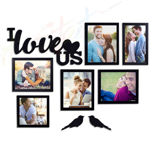 I Love US - Set of 6 Individual Black Photo Frame With MDF Plaque (I Love US + 2 Birds)