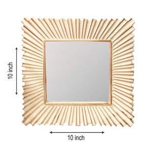 Decorative Square Golden Wall Mirror for Living Room Set of 3