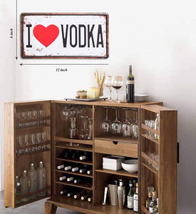 I Love Vodka Sign Tin Plate Sign