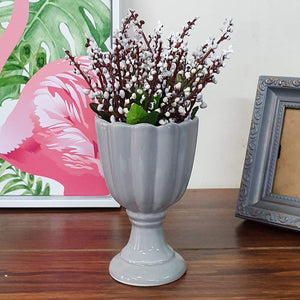 Artificial Flowers Plants White Lavender Flower in Ceramic Pot/Planter for Home.
