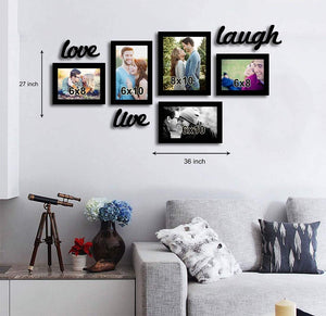 Live-Love-Laugh Black Individual Wall Photo Frame With MDF Plaque