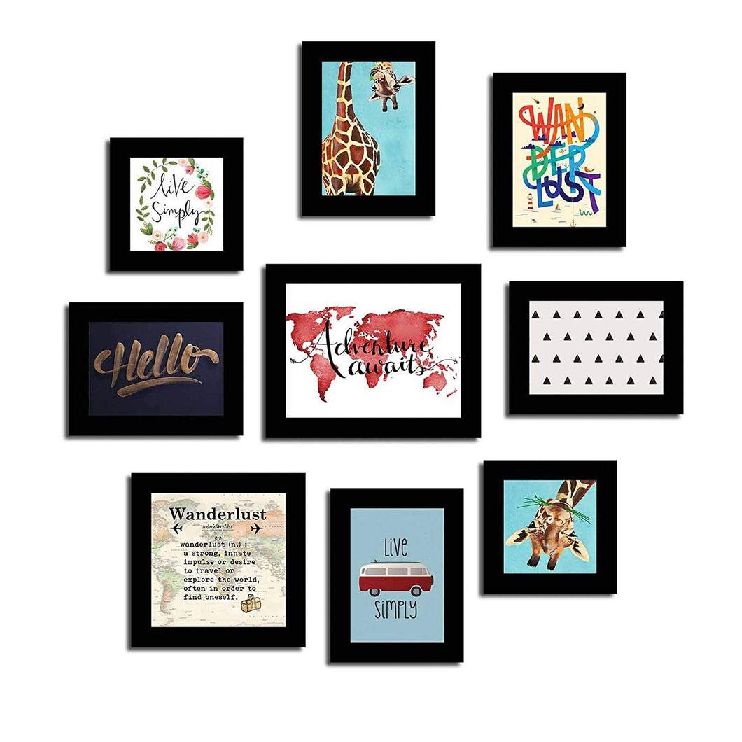 Wanderlust Theme Wall Quotes Black Set of 9