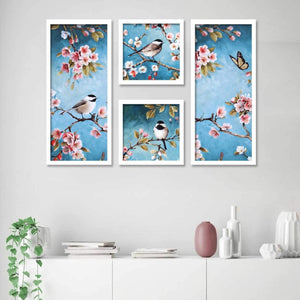 Birds & Flowers Framed Painting / Posters for Room Decoration , Set of 4 Black Frame Art Prints / Posters for Living Room