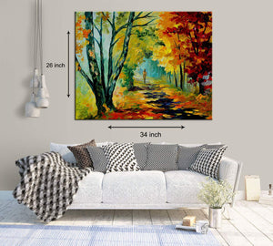 Art Street A Walk in The Fall Art Print,Landscape Canvas Painting
