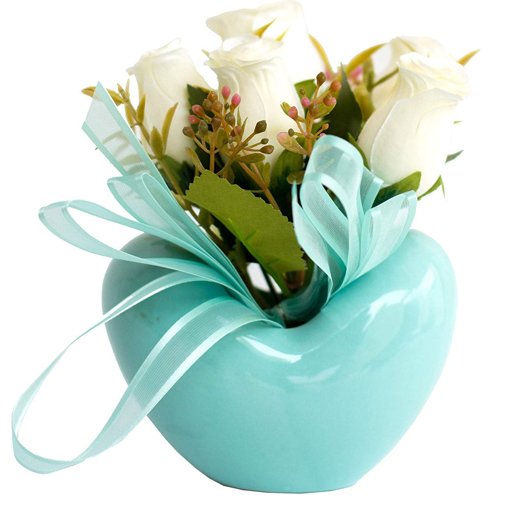 Artificial Flowers/Plants/White Rose Flower in Ceramic Pot/Planter for Home, Garden Decor Decoration