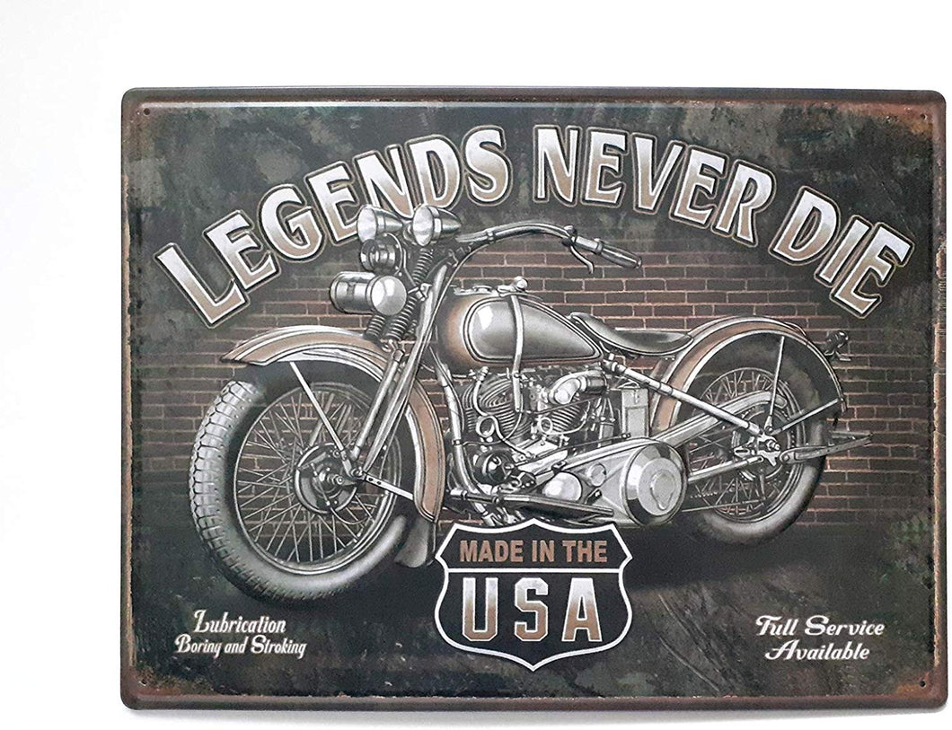 Legends Never DIE Motorcycle USA Poster Metal Plaques Tin Sign
