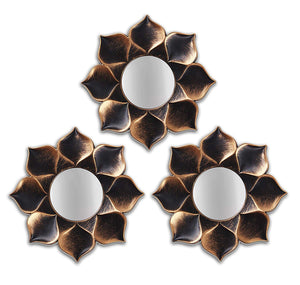 Art Street -Set of 3 Lotus Petal Mirror Decorative in Round Shape (9 x 9 Inchs)