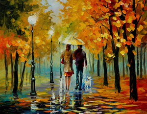 Art Street Painting Mantra Couple in The Rain Art Print, Landscape Canvas Paint