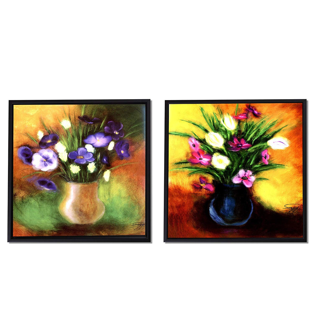 Purple & Pink Floral Print Framed Canvas Painting