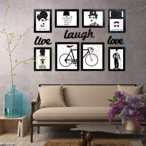 Set of 8 Individual Black Wall Quotes Framed Wall Poster with Art Prints + Live Laugh Love Cutout # Wallessential