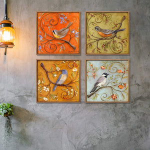 Colorful Bird Theme Set of 4 Framed Canvas