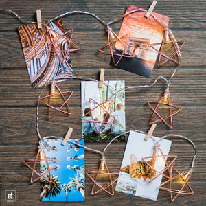 10 Bulb Iron Five Pointed Star Shape Decorative String Light Battery Powered ||1.5 Meter||