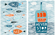 Load image into Gallery viewer, Aqua Theme Motivational Quote 2 Poster Set # Never Stop Exploring