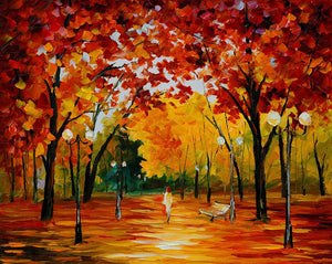 Art Street Alone Amidst Trees Art Print,Landscape Canvas Painting