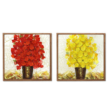 Load image into Gallery viewer, Red & Yellow Floral Print Framed Canvas Painting