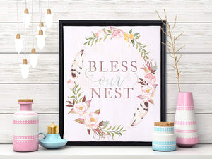 Bless Our Nest Framed Canvas