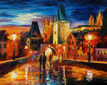 Load image into Gallery viewer, Art Street Night in Prague Art Framed Canvas Painting,Landscape Art Print