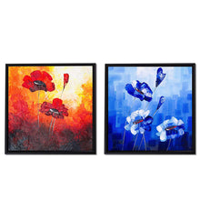 Load image into Gallery viewer, Red & Blue Floral Print Framed Canvas Painting