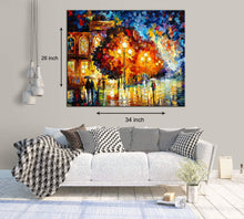 Load image into Gallery viewer, Art Street City Night in The Rain Art Print,Landscape Canvas Painting