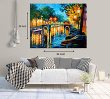 Load image into Gallery viewer, Art Street Autumn Reflections in Amsterdam Evenings Art Print,Landscape Canvas Painting