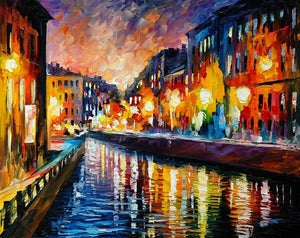 Art Street City in The Night Art Print,Landscape Canvas Painting