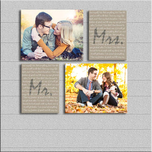 Art Street Personalized Mr. & Mrs. Photo to Canvas Print Wall Art Print Set of 4- Personalized Anniversary,Valentines Day Gift for Couple:- Digitally Printed - Size 6X8 Inches