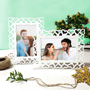 Set Of 2 Decoralicious White Heart Table Photo Frame For Home Decor
