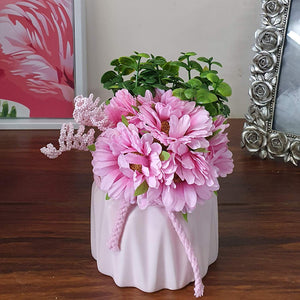Artificial Pink Sunflower Flowers Plantsin Ceramic Pot/Planter for Home.