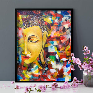 Budha Theme 1 Framed Canvas