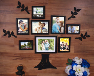 8 Individual Family Tree Wall Photo Frame With MDF Plaque ( 1 Trunk, 4 Leafs)