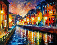Load image into Gallery viewer, Art Street City Light Oil Painting Art Print,Landscape Canvas Painting