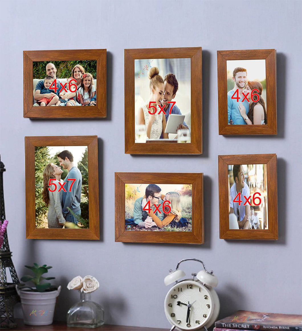 Brown Wall Photo Frame Photo Frame Set of 6