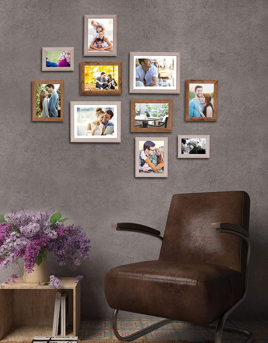 White And Natural Cave Premium Brown photo frames for wall ,living room ,Gift - set of 6 .