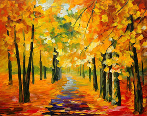 Art Street Forest in Fall Landscape Canvas Painting