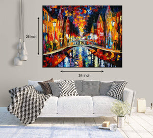 Art Street City Night & The Stream Art Print,Landscape Canvas Painting