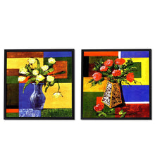 Load image into Gallery viewer, Red & Yellow Floral Print with Pot Framed Canvas Painting