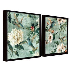 Bird Floral Theme Set of 2 Framed Canvas