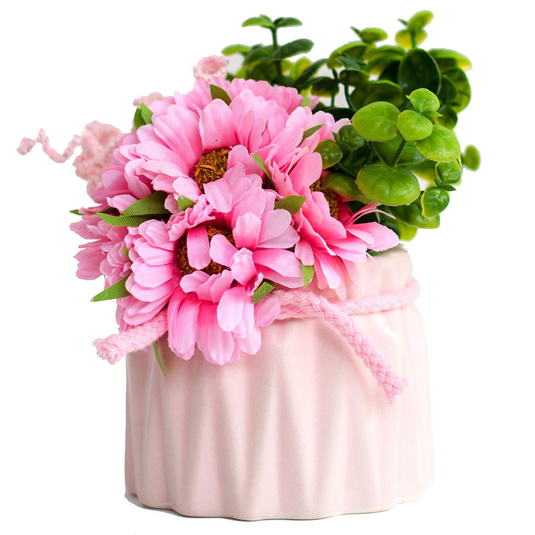 Artificial Flowers/Plants/Pink Sunflower Flower in Ceramic Pot/Planter for Home, Garden Decor Decoration
