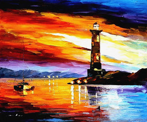 The Lighthouse Art Print,Landscape Canvas Painting