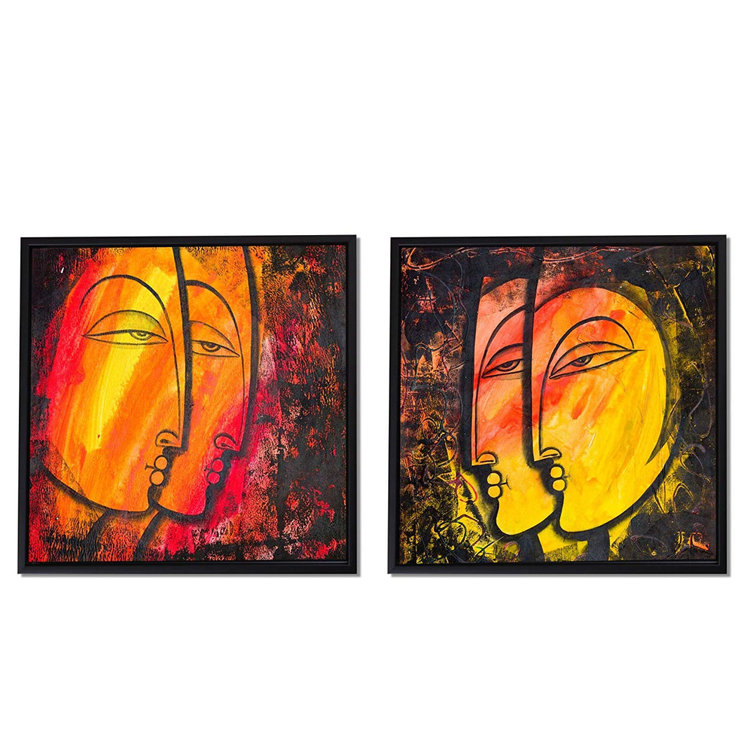 Abstract Faces Theme Framed Canvas Painting